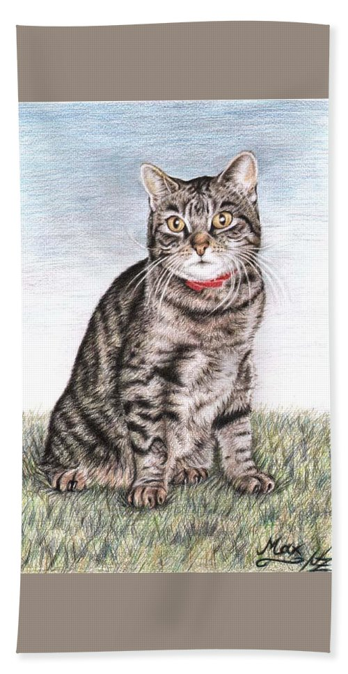 Cat Bath Towel featuring the drawing Tomcat Max by Nicole Zeug