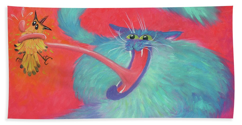 Cat Bath Towel featuring the painting Tongue-tied by Baron Dixon