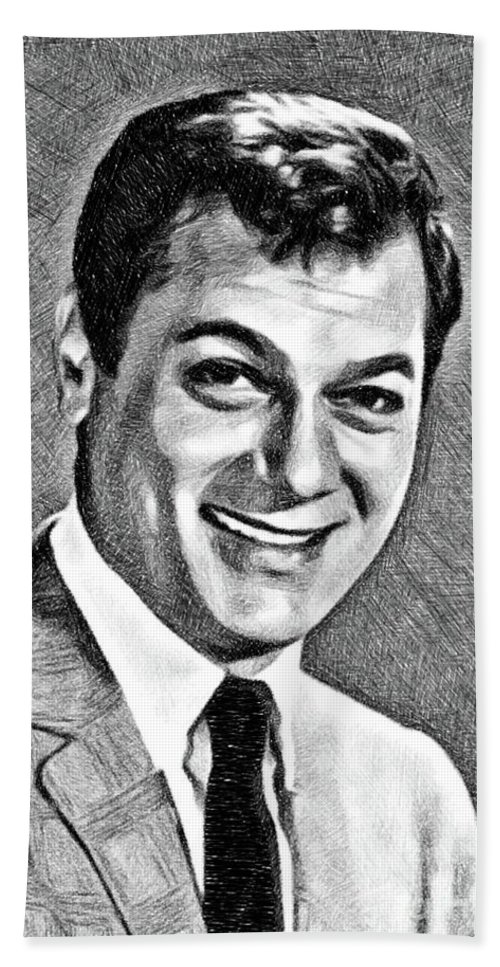 Tony Bath Towel featuring the drawing Tony Curtis, Vintage Actor By Js by John Springfield