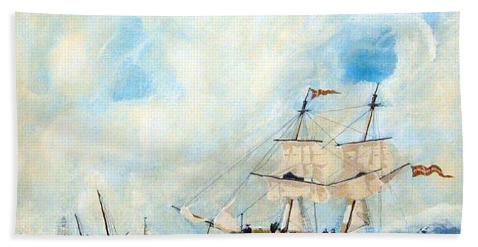 Sailing Bath Sheet featuring the painting Too Close To Shore by Richard Le Page