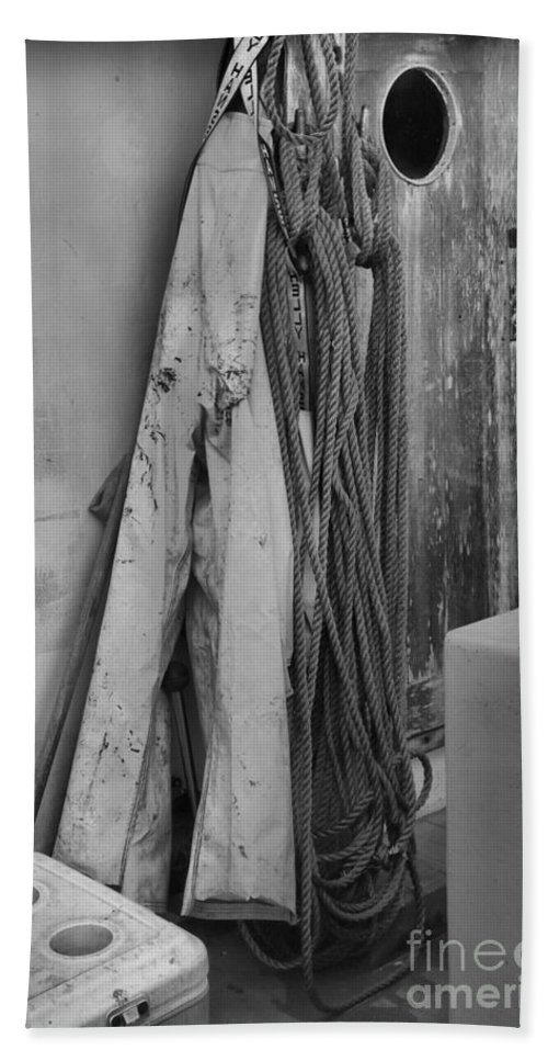 Black And White Hand Towel featuring the photograph Tools Of The Salmon Fisherman by Adam Jewell