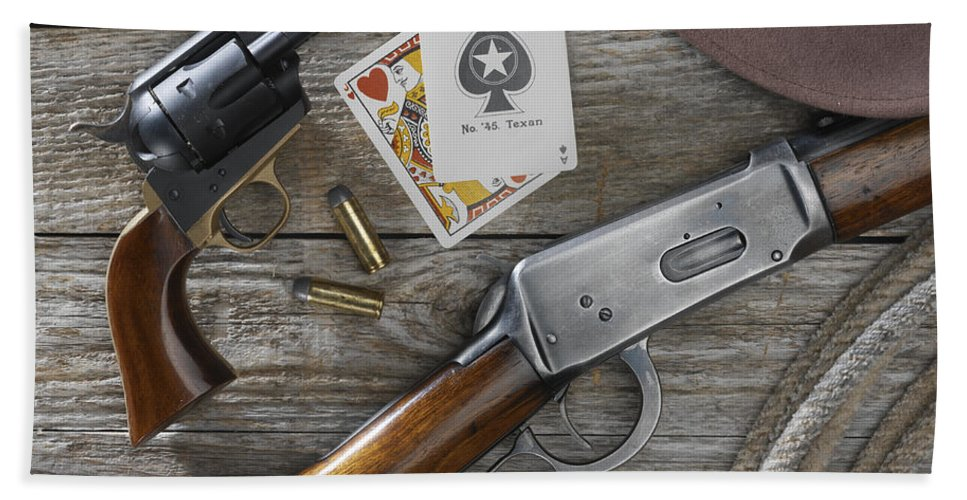 Old West Bath Sheet featuring the photograph Tools Of The Trade by Jerry McElroy