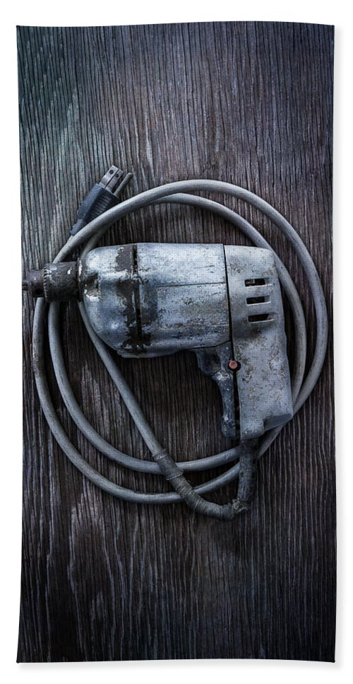 Industrial Hand Towel featuring the photograph Tools On Wood 30 by YoPedro
