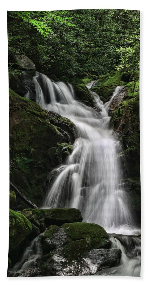 Waterfall Hand Towel featuring the photograph Top Of Mouse Creek Falls by Shari Jardina