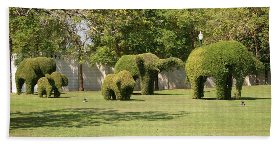 Garden Bath Sheet featuring the photograph Topiary Elephants, Thailand by Helen Smith