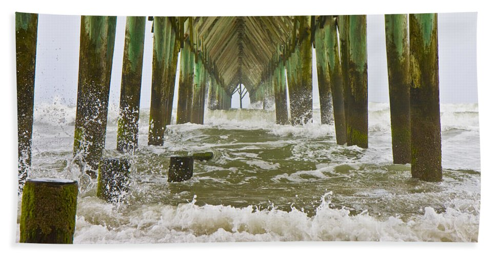 Topsail Bath Sheet featuring the photograph Topsail Island Pier by Betsy Knapp