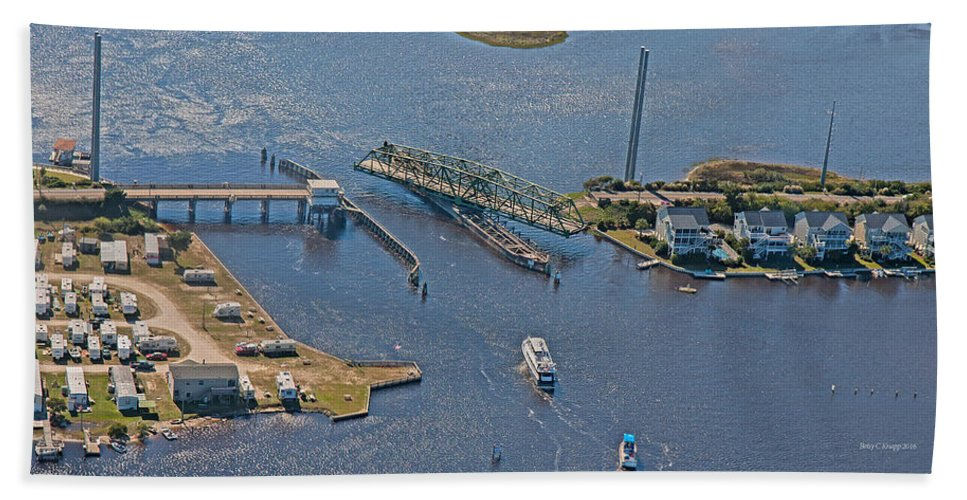Topsail Hand Towel featuring the photograph Topsail Swing Bridge by Betsy Knapp