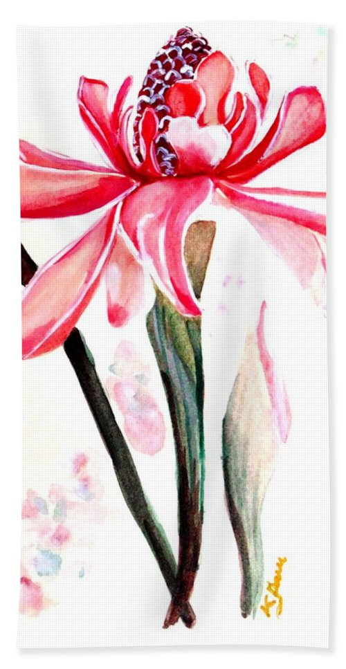 Pink Hand Towel featuring the painting Torch Ginger Lily  2 by Karin Dawn Kelshall- Best