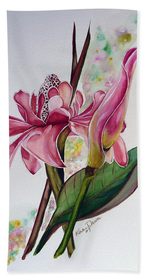 Flower Painting Floral Painting Botanical Painting Flowering Ginger. Bath Sheet featuring the painting Torch Ginger Lily by Karin Dawn Kelshall- Best
