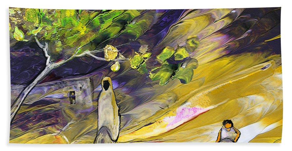 Tornado Hand Towel featuring the painting Tornado by Miki De Goodaboom