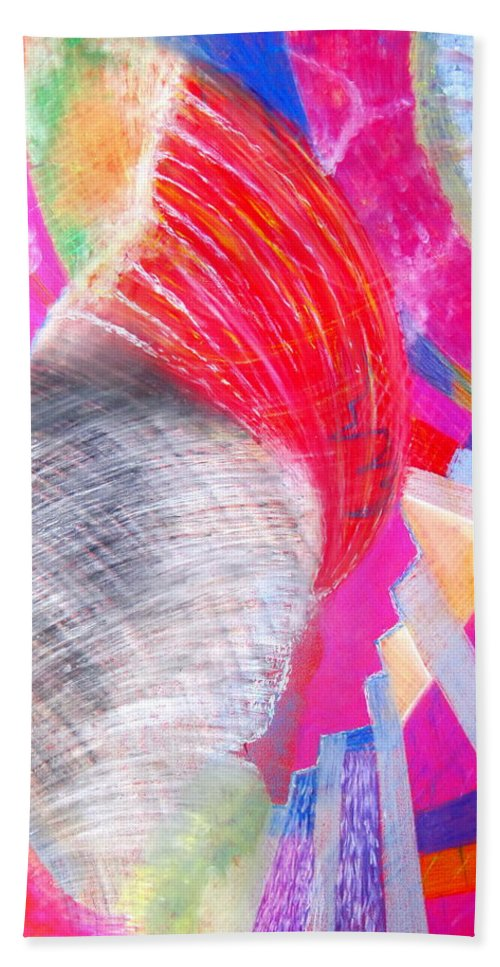 Tornado Hand Towel featuring the pastel Tornado by Petra Olsakova