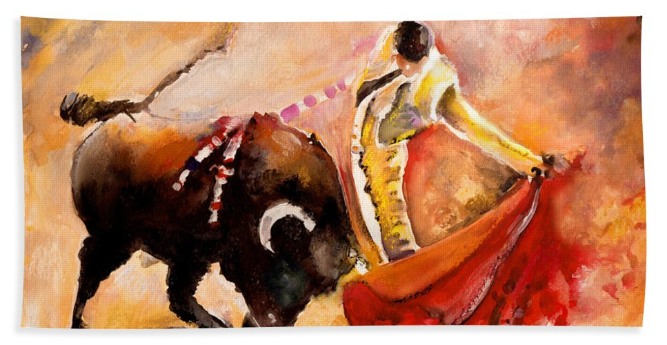 Animals Hand Towel featuring the painting Toro Acuarela by Miki De Goodaboom