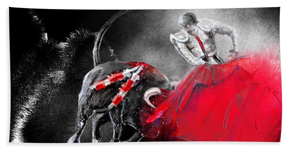 Animals Hand Towel featuring the painting Toro Tarantino by Miki De Goodaboom