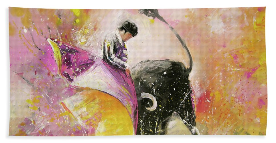Animals Hand Towel featuring the painting Toro Tenderness by Miki De Goodaboom