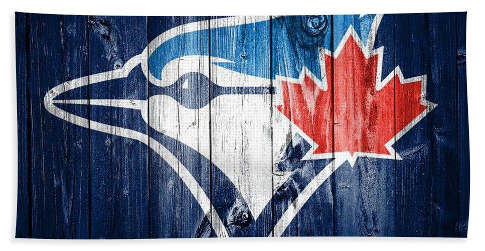 Toronto Blue Jays Barn Door Hand Towel featuring the mixed media Toronto Blue Jays Barn Door by Dan Sproul