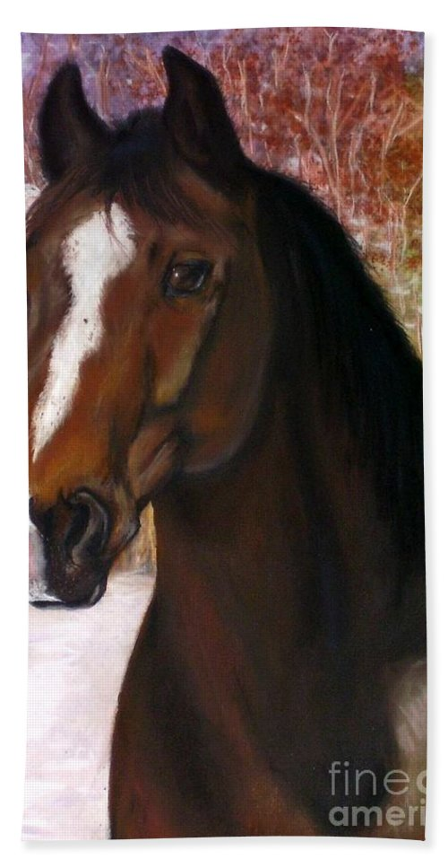 Horse Bath Towel featuring the painting Toronto by Frances Marino