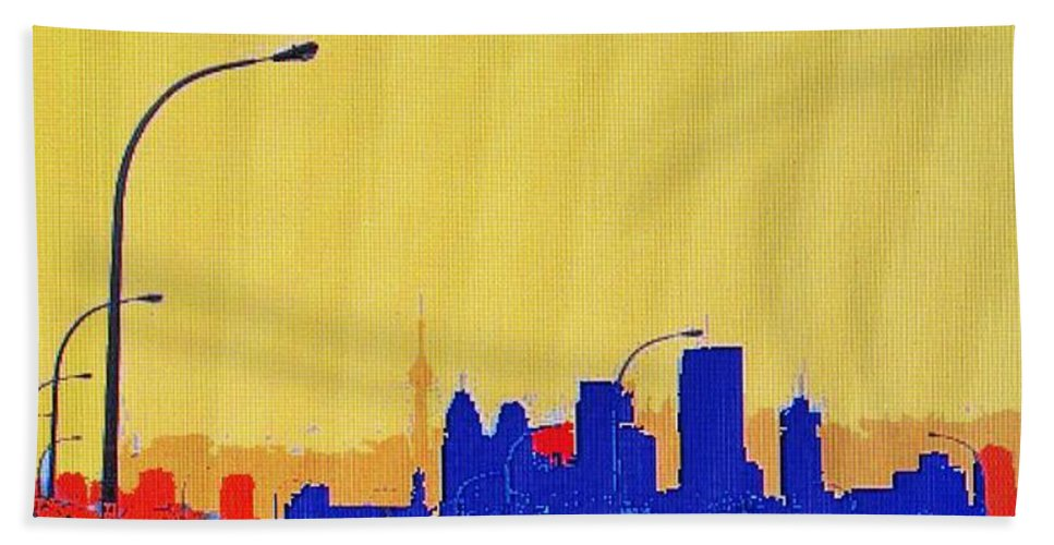 Toronto Hand Towel featuring the photograph Toronto Lemon Skyline by Ian MacDonald