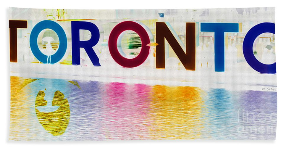 Toronto Bath Sheet featuring the photograph Toronto Sign In Muted Colours by Nina Silver