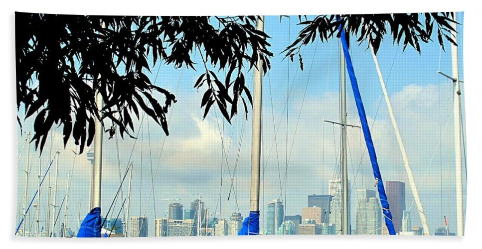 Toronto Hand Towel featuring the photograph Toronto Through A Forest Of Masts by Ian MacDonald