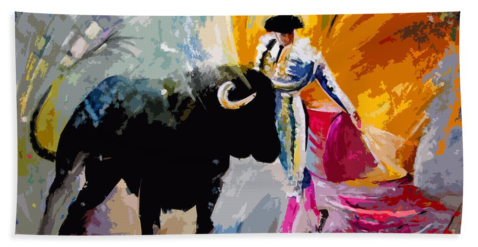 Toros Hand Towel featuring the mixed media Toroscape 03 by Miki De Goodaboom