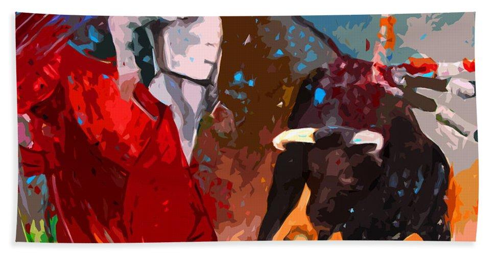Bullfight Bath Towel featuring the painting Toroscape 05 by Miki De Goodaboom