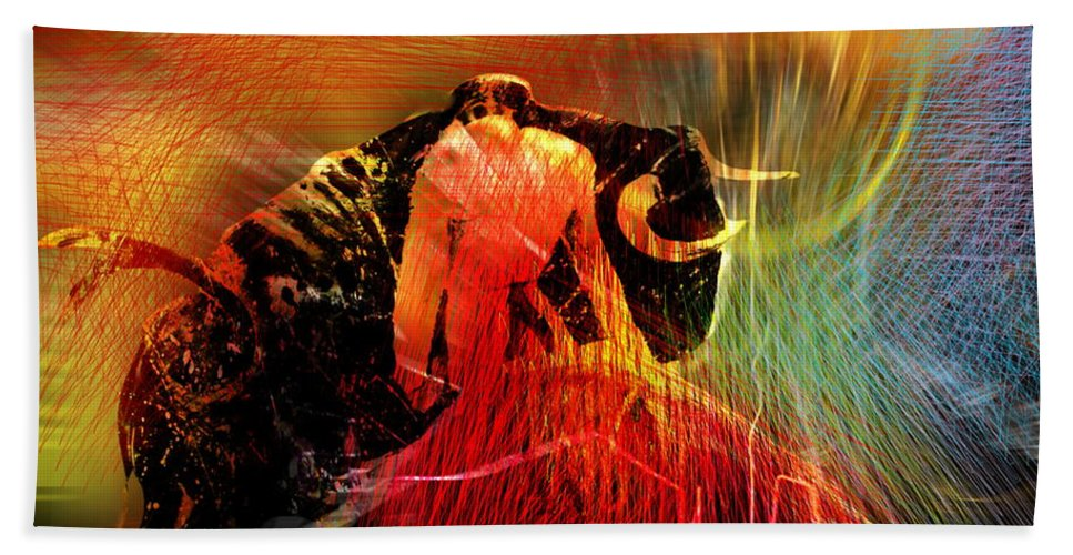 Toros Hand Towel featuring the painting Toroscape 19 by Miki De Goodaboom