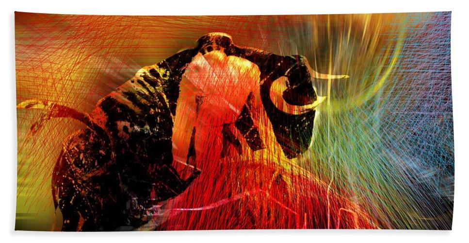 Toros Bath Towel featuring the painting Toroscape 19 by Miki De Goodaboom