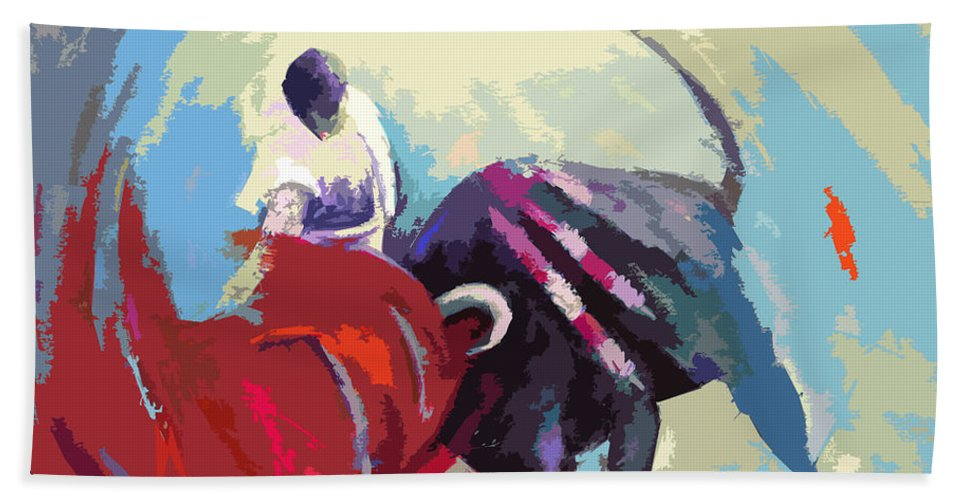 Animals Bath Towel featuring the painting Toroscape 33 by Miki De Goodaboom