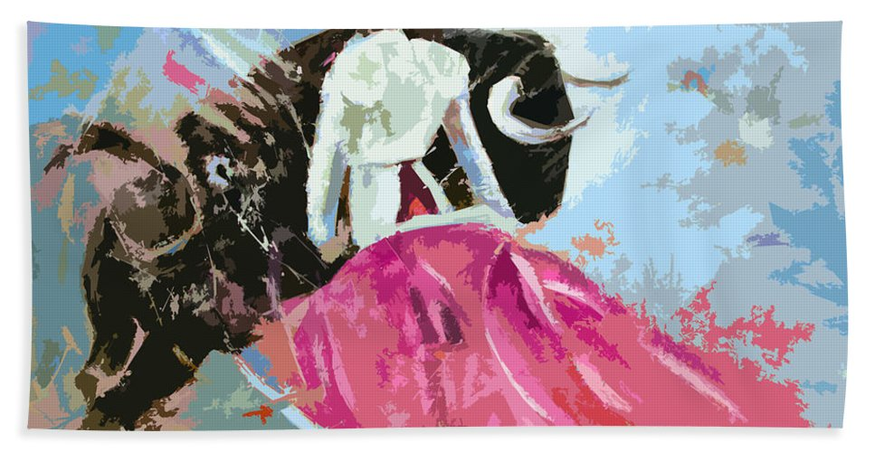 Animals Hand Towel featuring the painting Toroscape 34 by Miki De Goodaboom