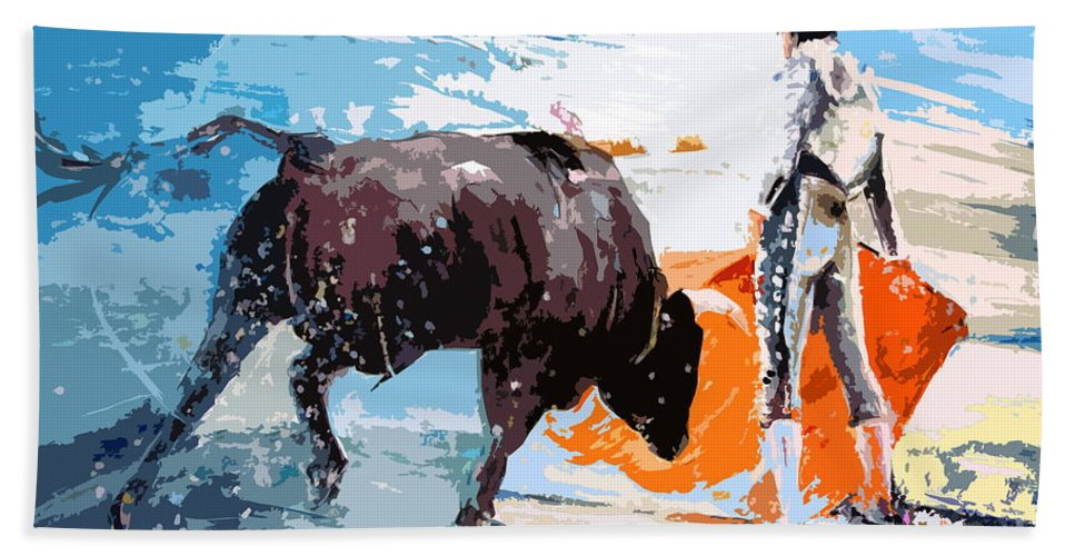 Bullfight Bath Towel featuring the painting Toroscape 37 by Miki De Goodaboom