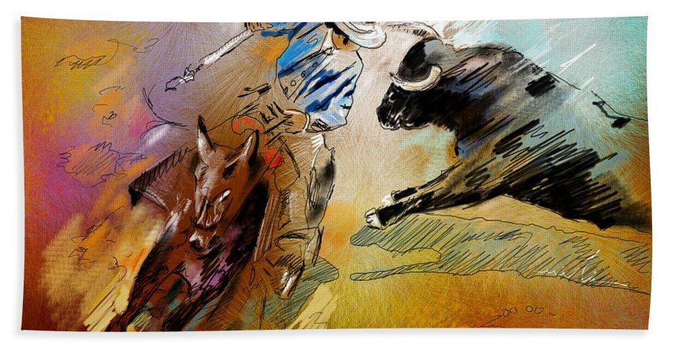 Bullfight Bath Sheet featuring the painting Toroscape 42 by Miki De Goodaboom