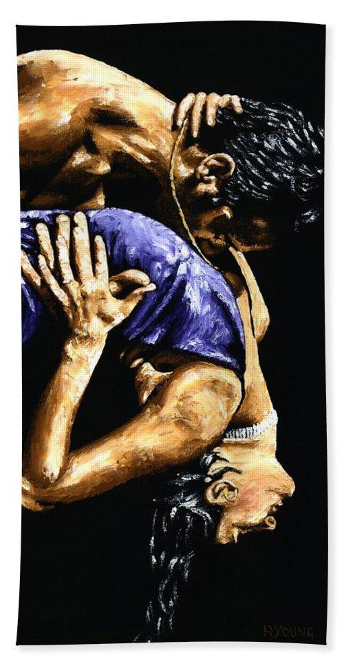 Tango Bath Sheet featuring the painting Torrid Tango by Richard Young