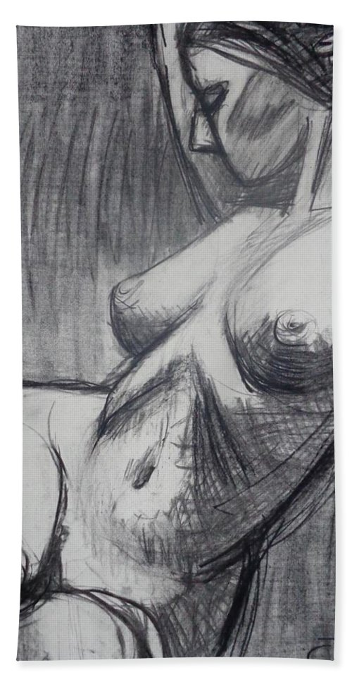 Torso 6 Hand Towel featuring the painting Torso 6 - Female Nude by Carmen Tyrrell