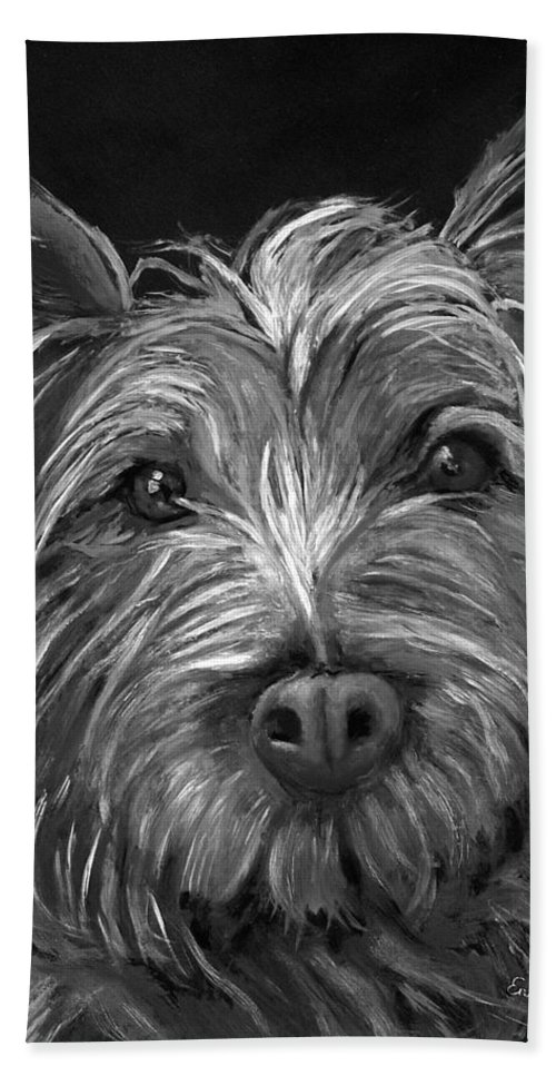 Dogs Bath Sheet featuring the painting Tosha The Highland Terrier by Portraits By NC