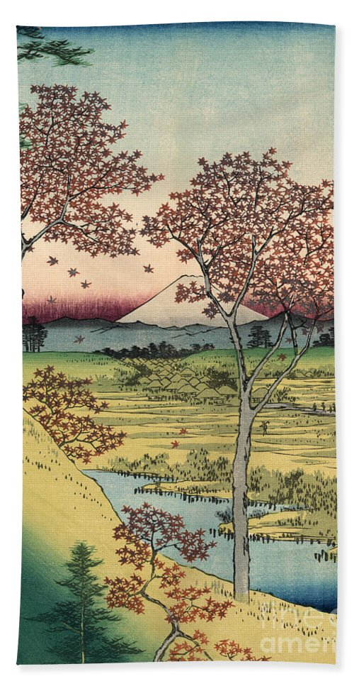 Tōto Hand Towel featuring the painting Toto Meguro Yuhhigaoka - Sunset Hill Meguro In The Eastern Capitol by Utagawa Hiroshige