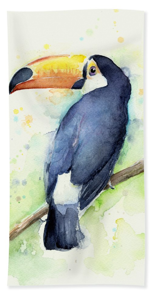 Watercolor Toucan Hand Towel featuring the painting Toucan Watercolor by Olga Shvartsur
