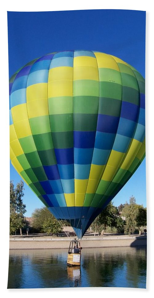 Hot Air Balloon Hand Towel featuring the photograph Touch Down by Adrienne Wilson