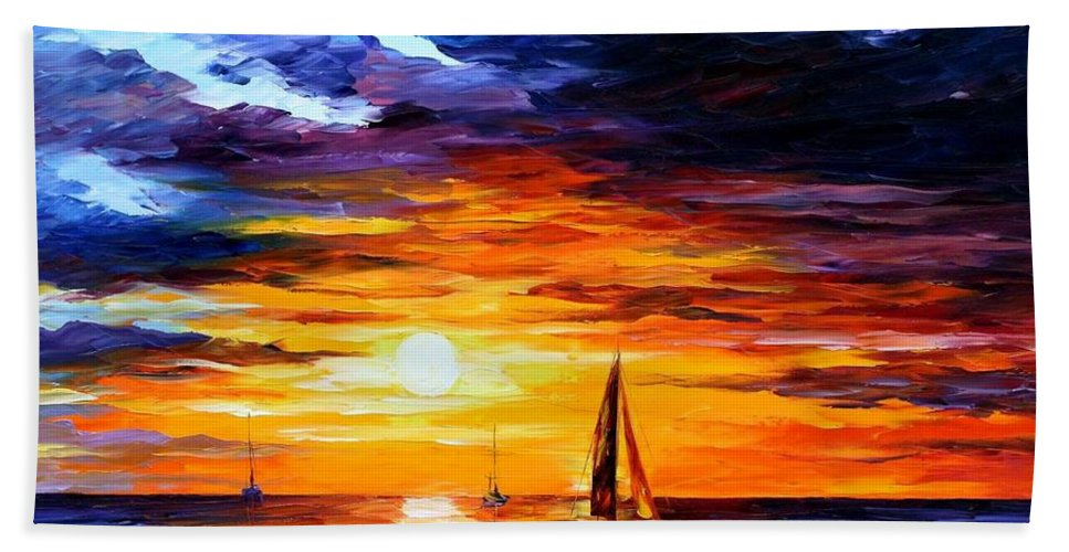 Afremov Bath Sheet featuring the painting Touch Of Horizon by Leonid Afremov