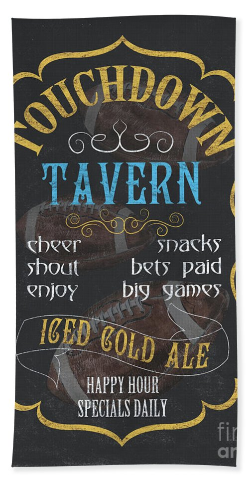 Beer Bath Towel featuring the painting Touchdown Tavern by Debbie DeWitt