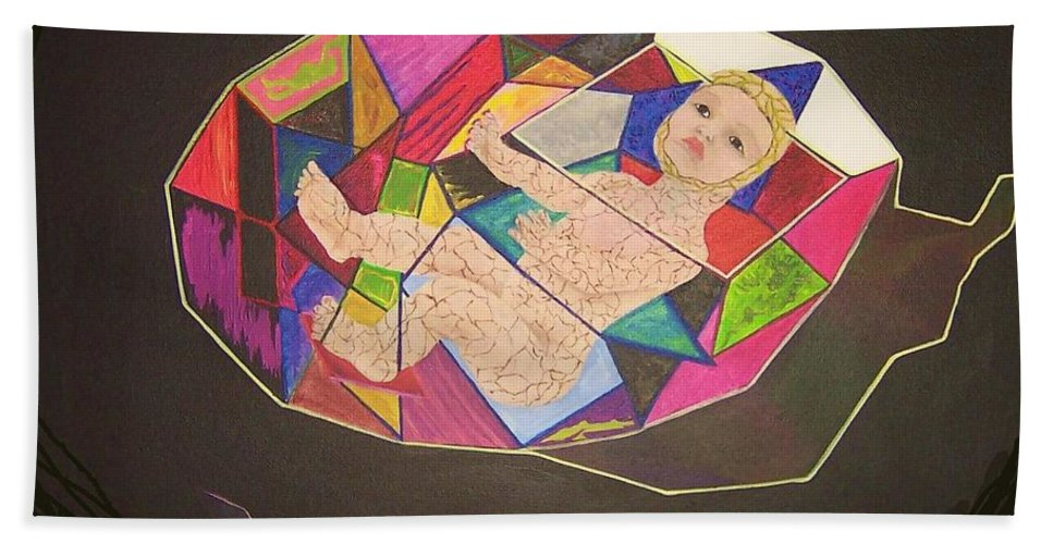 Child Bath Sheet featuring the painting Touching A Memory by Deahn   Benware