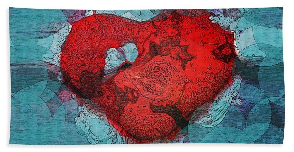 Abstract Art Bath Sheet featuring the digital art Tough Love by Linda Sannuti