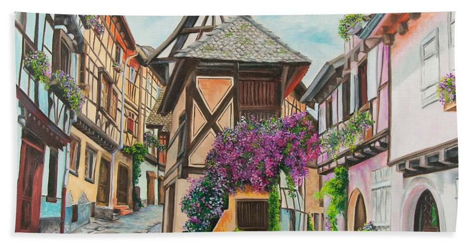 France Hand Towel featuring the painting Touring In Eguisheim by Charlotte Blanchard
