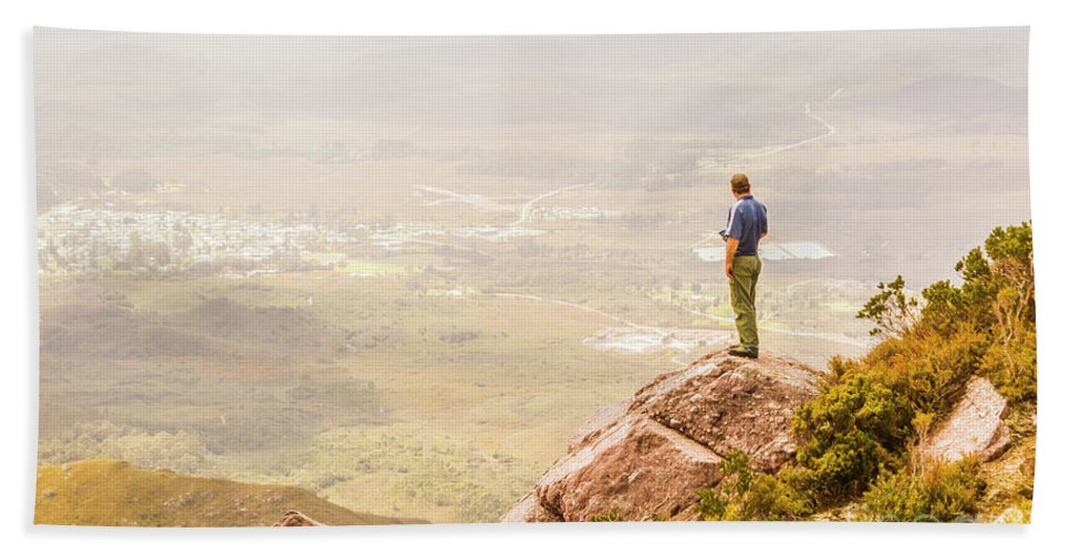 Mountain Hand Towel featuring the photograph Tourist On The Tip Of Western Tasmania by Jorgo Photography - Wall Art Gallery