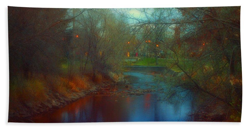 Creek Hand Towel featuring the photograph Toward The City Lights by Tara Turner
