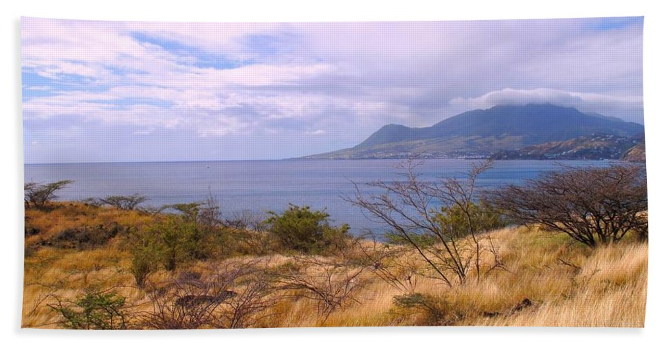 St Kitts Hand Towel featuring the photograph Towards Basseterre by Ian MacDonald