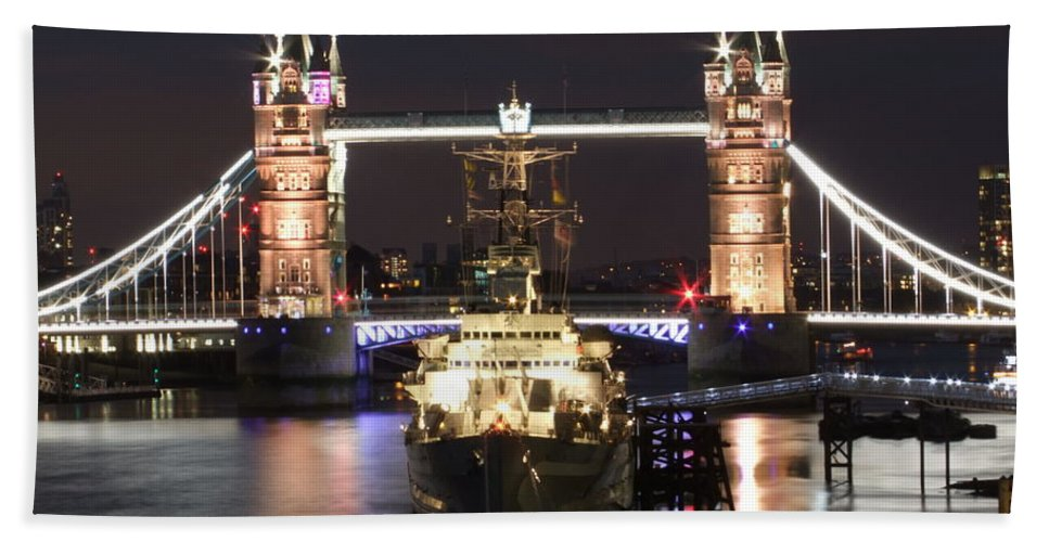 Tower Bridge Bath Sheet featuring the photograph Tower Bridge And Hms Belfast by Andrew Ford