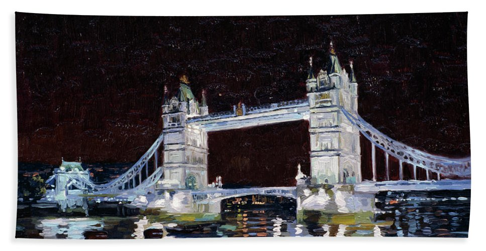 London Hand Towel featuring the painting Tower Bridge by Simon Kozhin