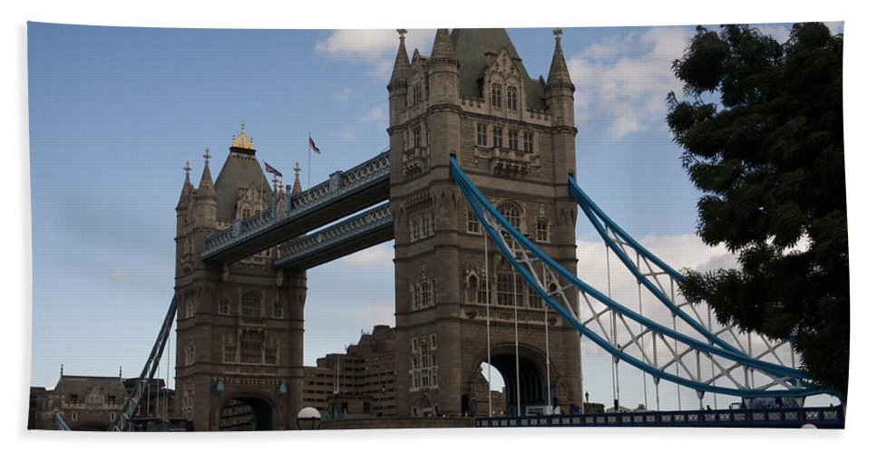 Towers Bath Towel featuring the photograph Tower Bridge London by Christopher Rowlands