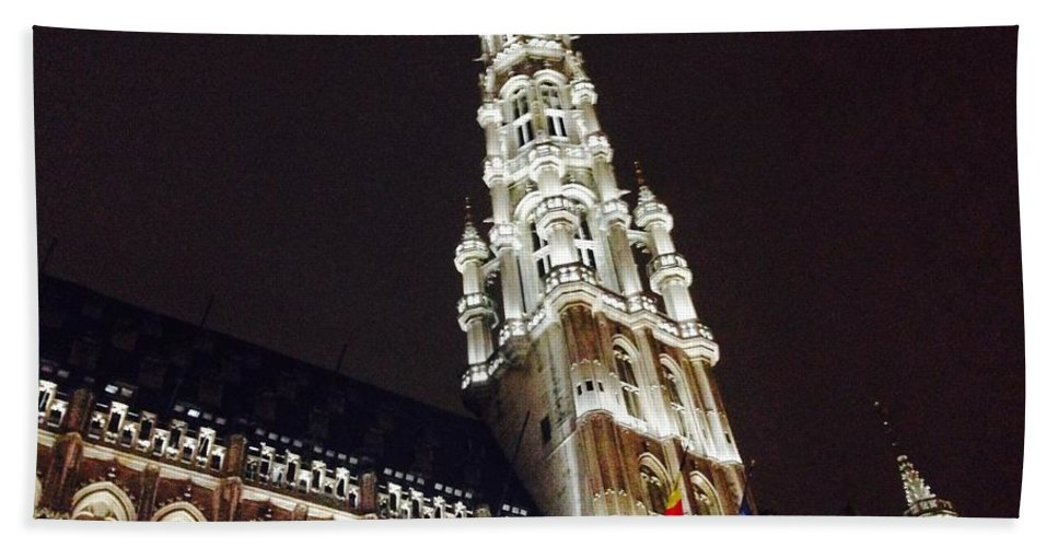 Brussels Hand Towel featuring the photograph Brussels Tower Light by Jost Houk