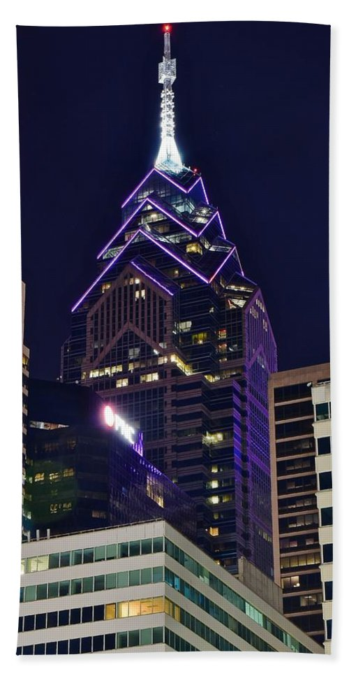Philadelphia Hand Towel featuring the photograph Towering Over Philly by Frozen in Time Fine Art Photography